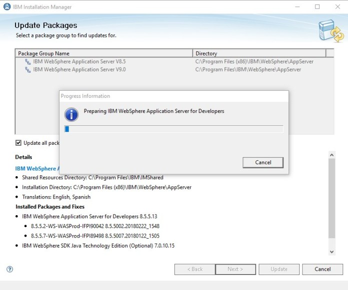 IBM Installation Manager, websphere application server, esta tuani