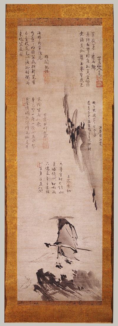 Su Dongpo, con sombrero de paja y zapatos de madera