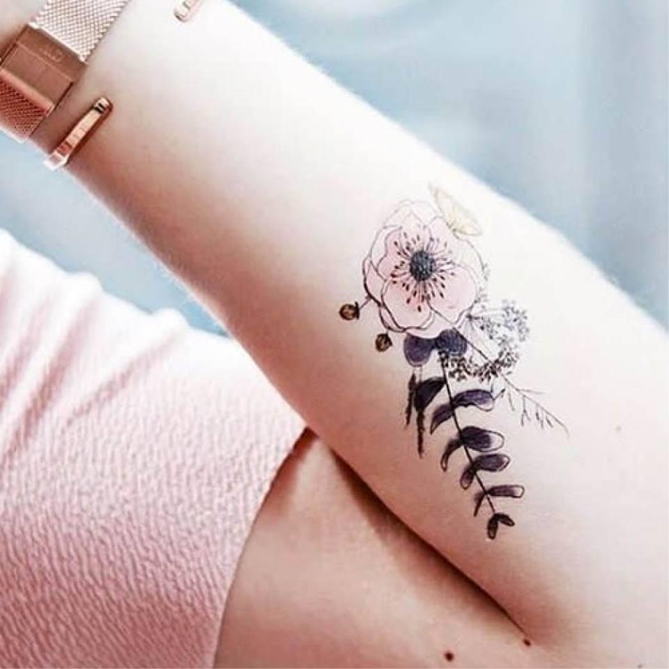 tatouage ephemere fleurs