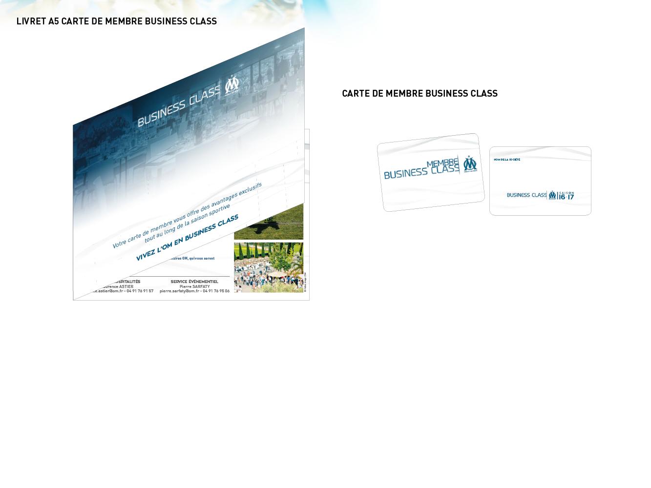 livret et carte de membre OM Business Class