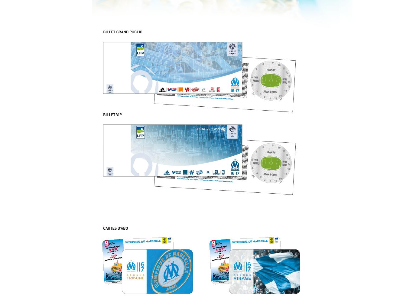 billets de match et cartes d'abonnement OM