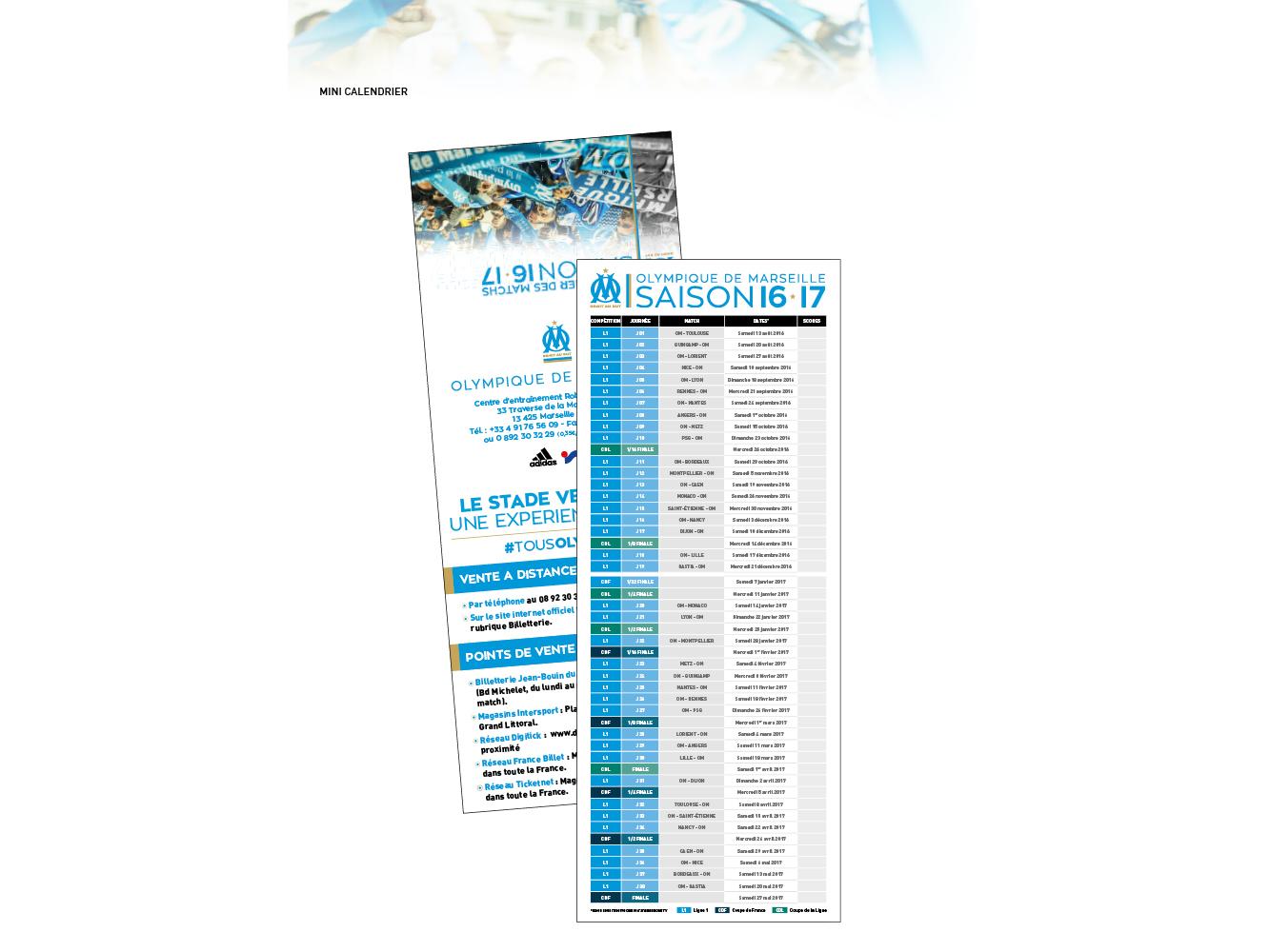 mini calendrier OM saison 16-17