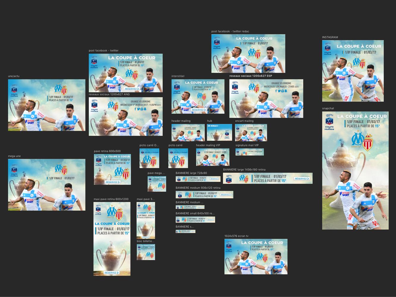 declinaisons promotion billetterie Olympique de Marseille
