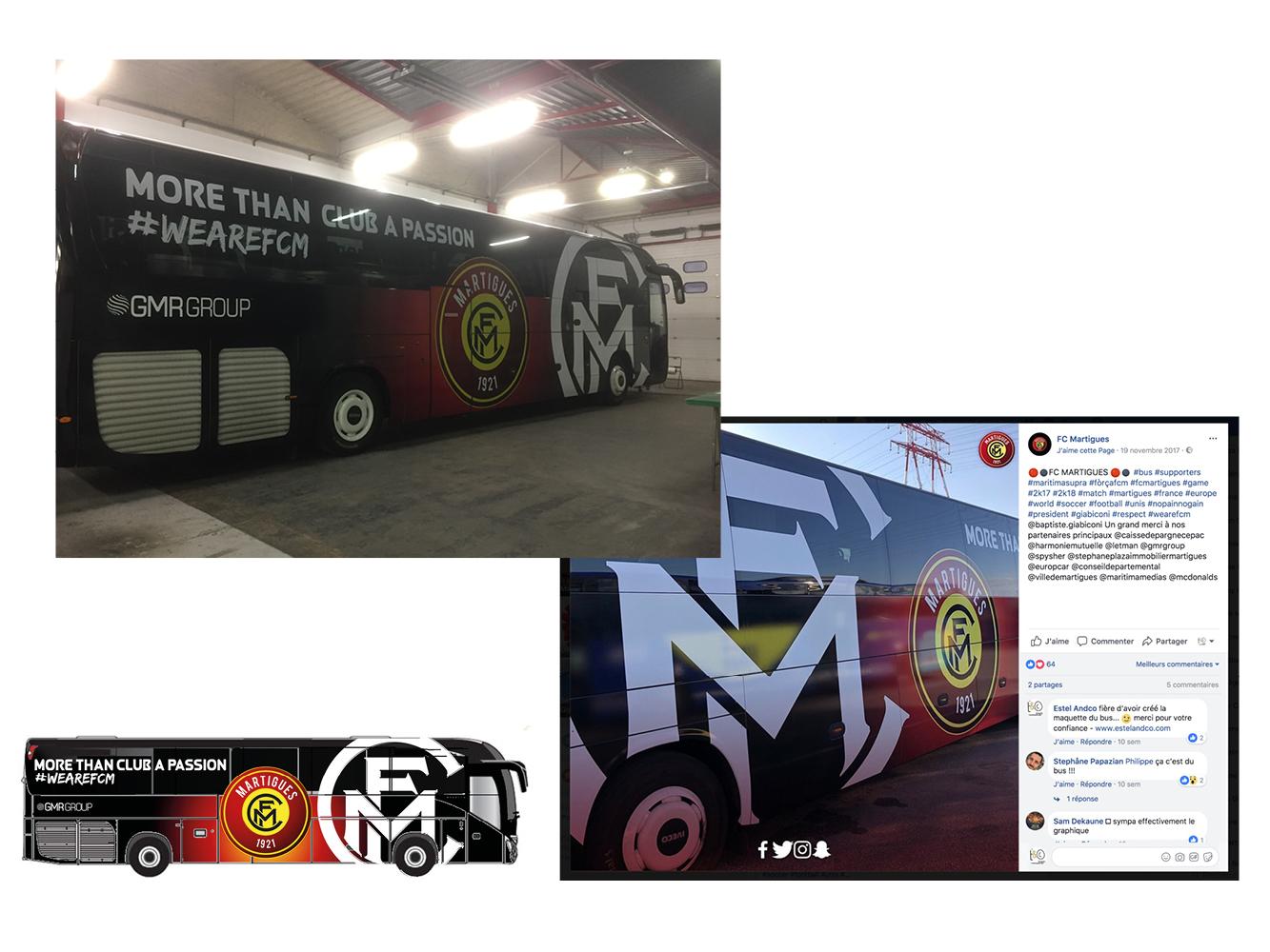 création de l'habillage du Bus du club de football FC Martigues