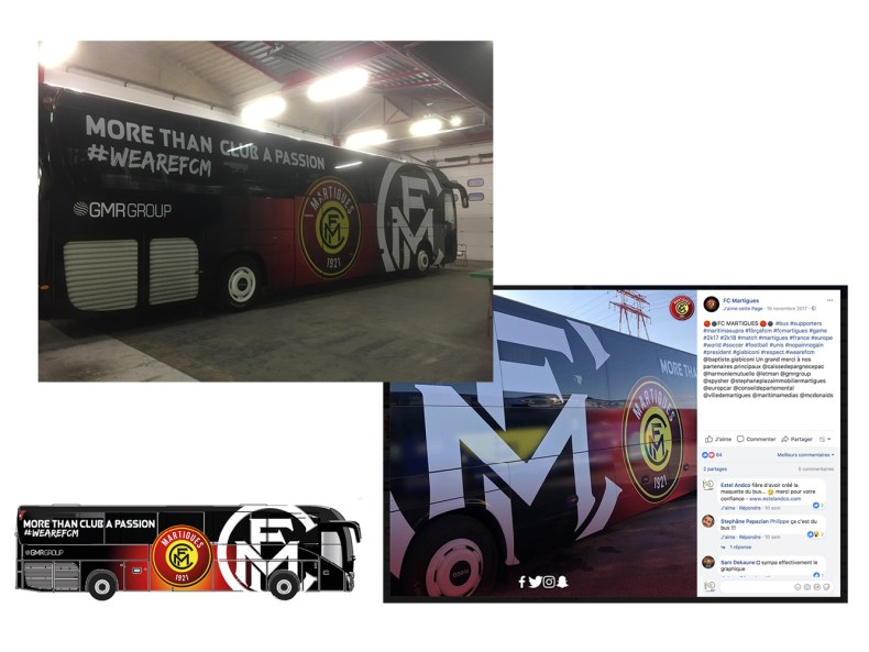 création de l'habillage du Bus du club de football FC Martigues