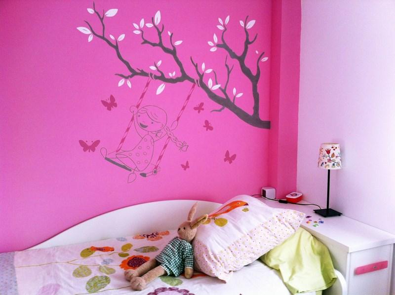 Pared de habitacin con dibujo pintadoEstela y Papel