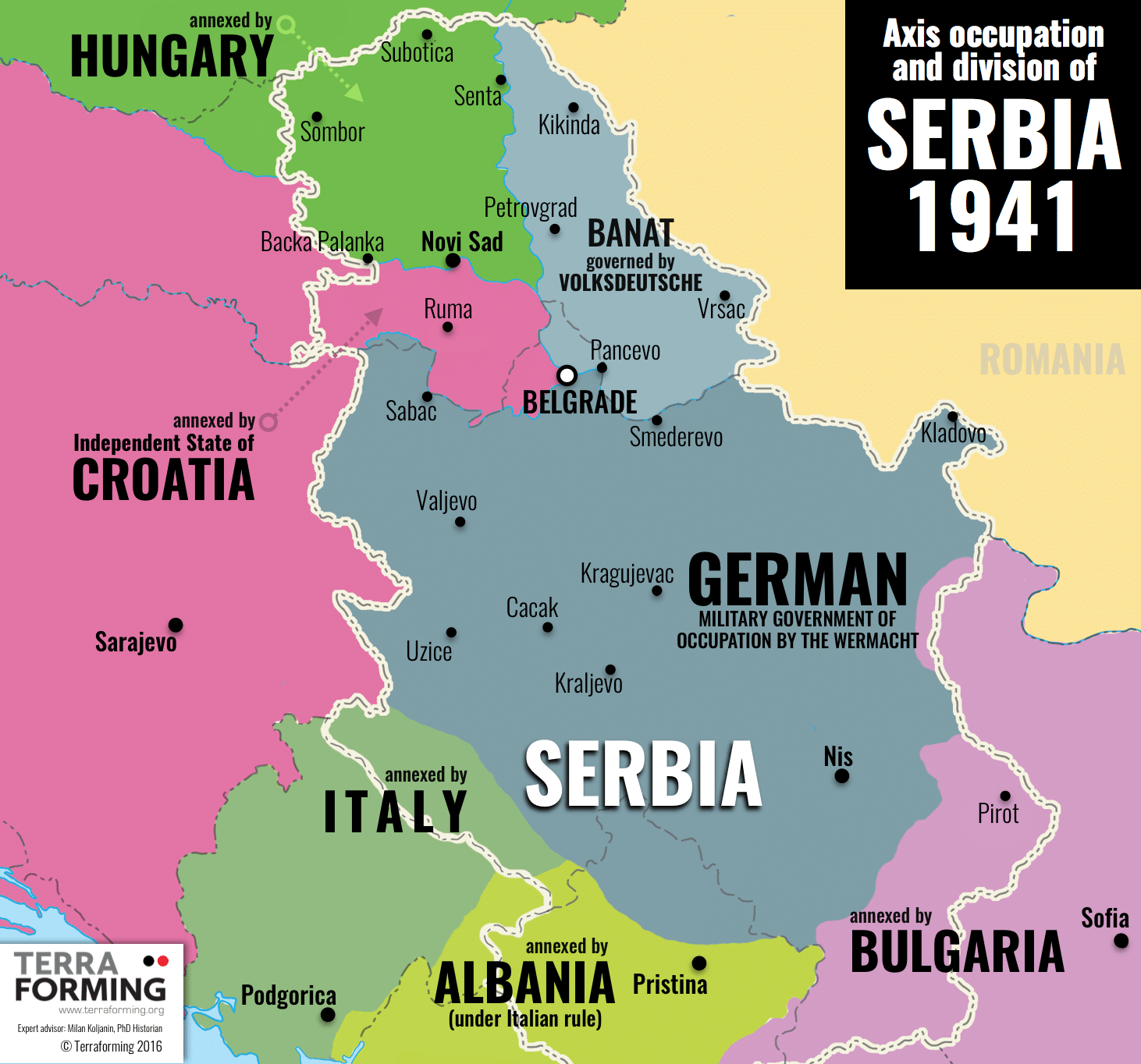 Axis Occupation and Division of Serbia 1941 - Map