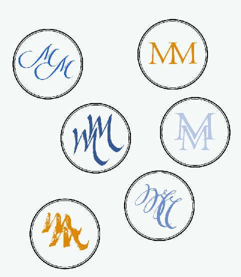 Invitación Marian y Manuel I - monogramas