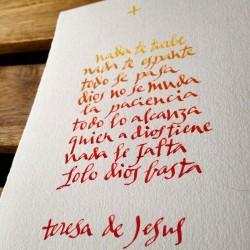 Texto caligrafiado imitando a TeresadeJesús
