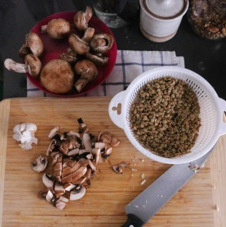 Lentil Soup with Mushrooms for a Blizzard