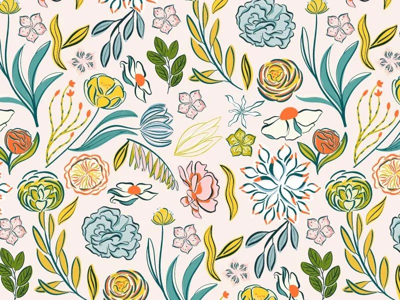 Agosto, a botanical surface pattern design collection by Esther Nariyoshi