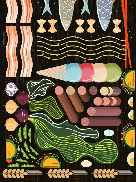 Geometric Food Illustration by Esther Nariyoshi, vegetables, pasta, bacon, sausage, tacos