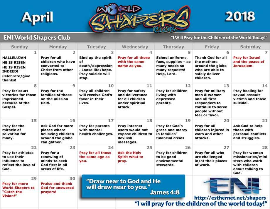 World Shapers Club April 2018 Prayer Calendar - Esther