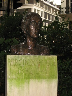 Bust of Virginia Woolf, Tavistock Square, London, near one of the homes in Bloomsbury where she and her husband lived.
