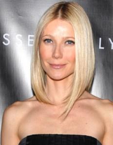 Gwyneth Paltrow: En principio, el look Bob largo y liso favorece a los rostros redondos. Gwyneth es la excepción que confirma la regla.