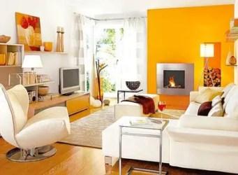 Un living naranja Decoración de Interiores y Exteriores