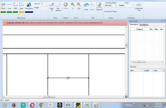 Quickscale pdf takeoff how to use the calibration tool to find 1 known length on pdf drawing 25 ft malvernweather Choice Image