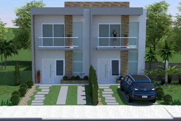 Double storey duplex house front elevation design plans for Duplex building cost estimator