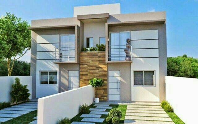 Two Storey Duplex House With Parapet Roof Balcony And Driveway Todo Fachadas Estimation Qs