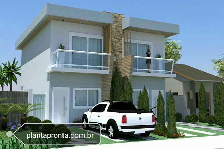 Two level duplex house with flat roof and balcony by for Duplex building cost estimator