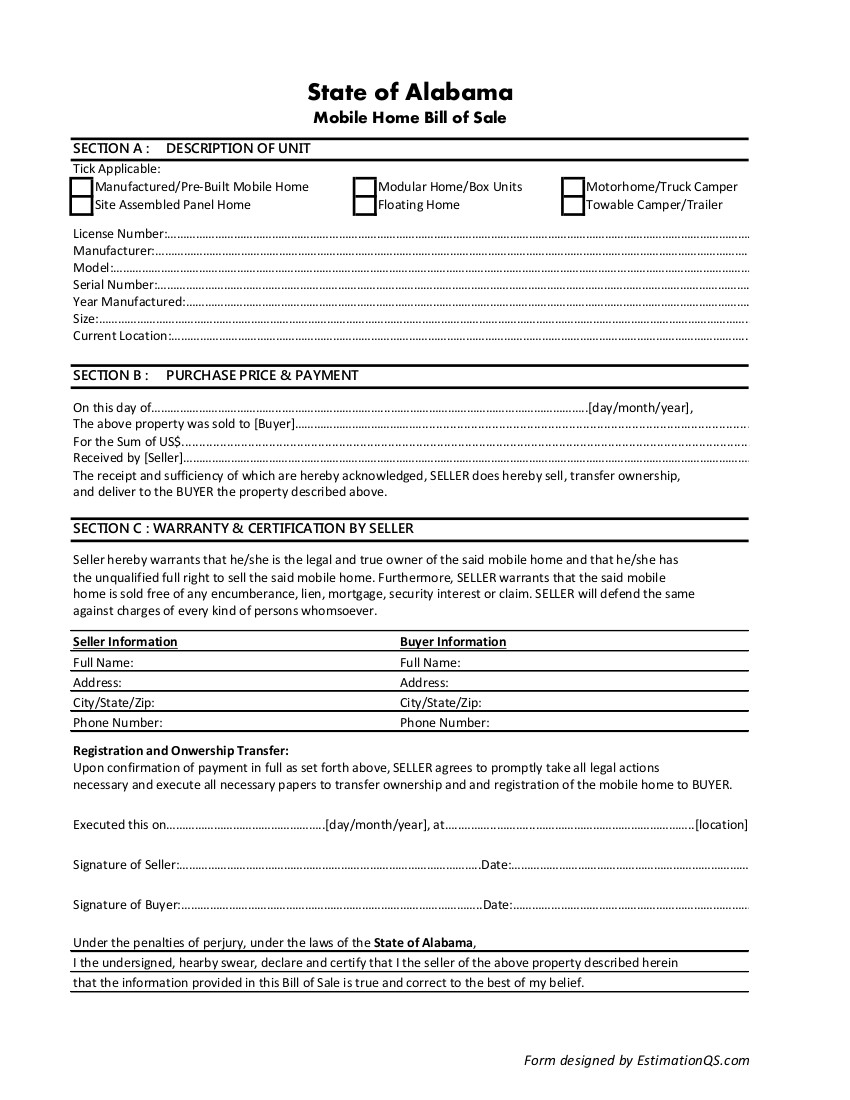 Alabama Mobile Home Bill of Sale - Free Template