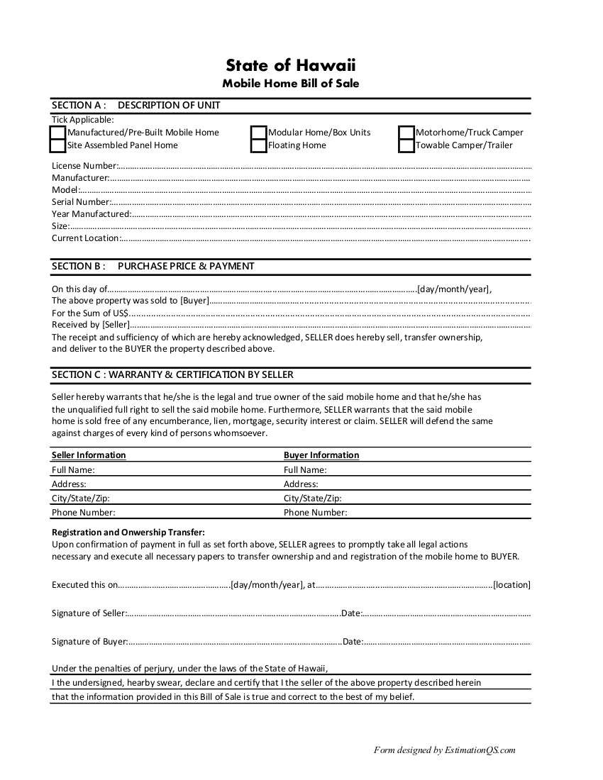 Hawaii Mobile Home Bill of Sale  - Free Template