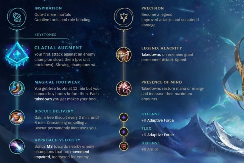 A League of Legends rune page for Senna with Glacial Augment
