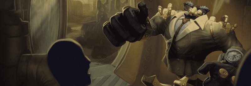 The League of Legends Definitely not Blitzcrank skin, a robot with a coat, glasses and moustache
