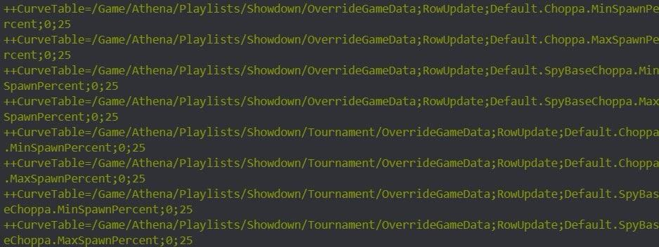 A screenshot of lines of game code showing the adjusted spawn rate for the Choppa vehicle
