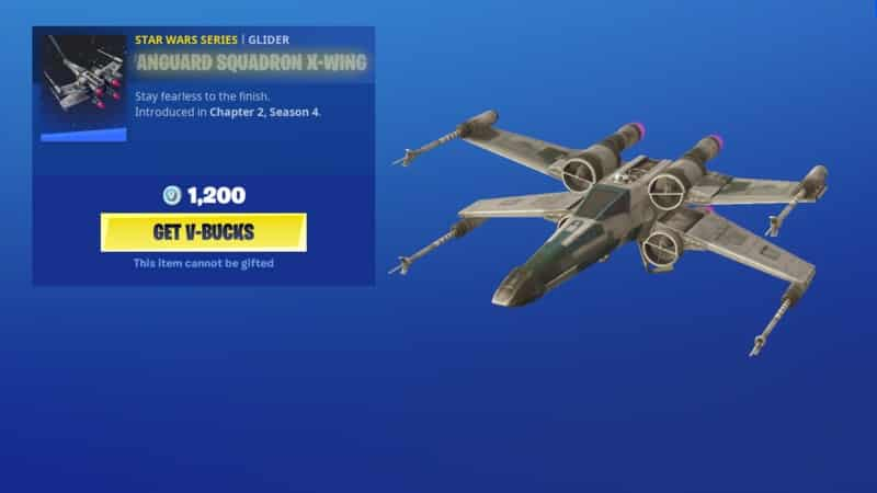 A Star Wars X-Wing in Fortnite in the shop with purchase info