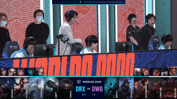 The Damwon LoL team on the Worlds 2020 stage getting ready for a game versus DRX with their game two drafts below