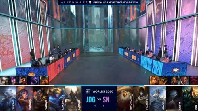 The Suning and JD Gaming LoL teams on a flooded worlds 2020 stage with their game three drafts below