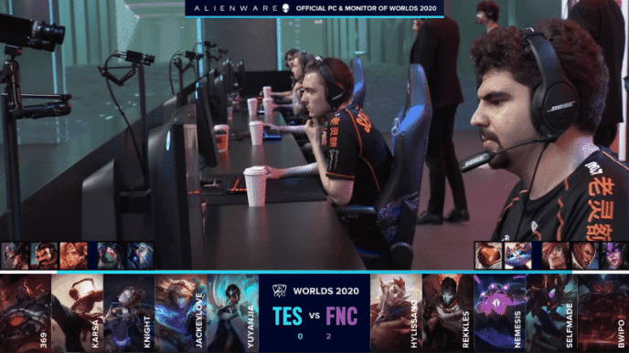 The Fnatic LoL team on the Worlds 2020 stage before their game against Top Esports with their game three drafts below