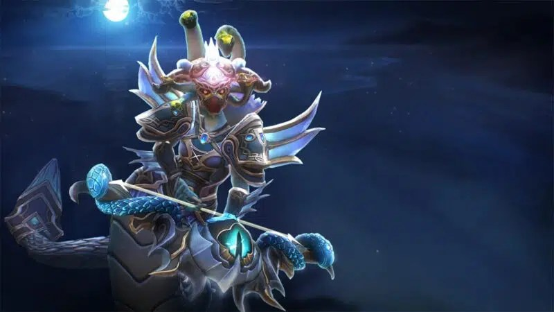 The Dota 2 Hero Medusa appears in her Eye of the Beholder set, weilding a mighty bow with a draconic green eye set into it