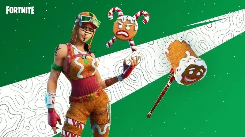 A female Fortnite character is dressed in the Gingerbread Raider Fortnite skin on a green and white background.  Top 10 Best Fortnite Skin: From 2017 to 2021