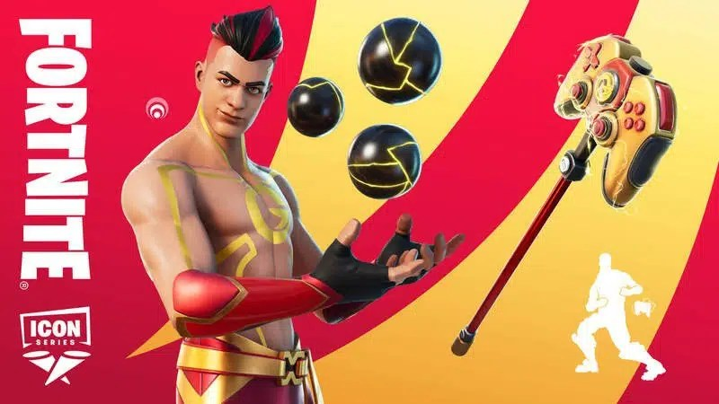 """Top 10 Best Fortnite Skin: From 2017 to 2021   David """"TheGrefg"""" Cánovas Martínez's ICON Series Fortnite skin appears with a controller modeled pickax on a red and yellow background."""