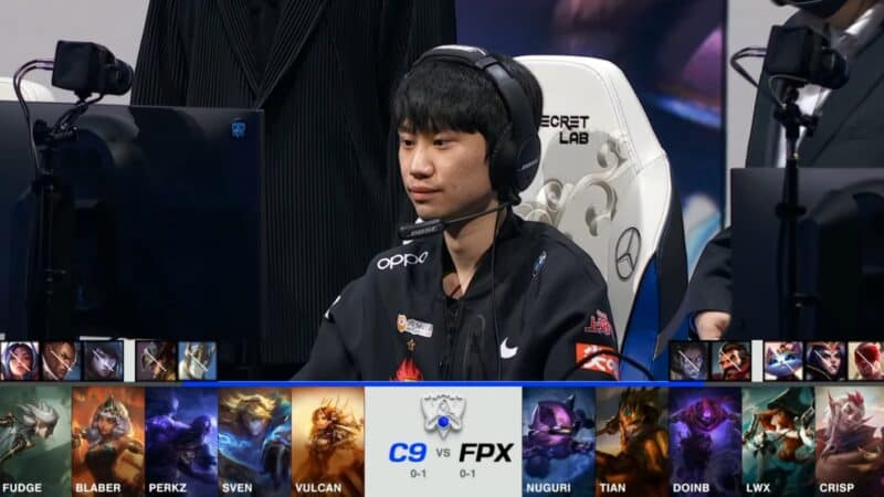 A screenshot from the 2021 World Championship Main Event Group Stage broadcast, showing the champion drafts between Cloud9 and FunPlus Phoenix with a shot of FPX mid laner Doinb above.