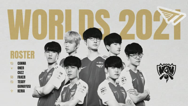 """A collage of the T1 LCK roster of Canna, Oner, Cuzz, Faker, Teddy, Gumayusi and Keria appear with the words """"Worlds 2021"""" above them and an LoL Esports logo to the side."""