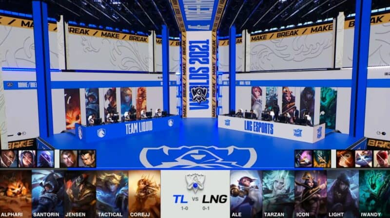 A screenshot from the 2021 World Championship Main Event Group Stage broadcast, showing the champion drafts between Team Liquid vs LNG Esports with a shot of TL and LNG on the Worlds 2021 stage above.