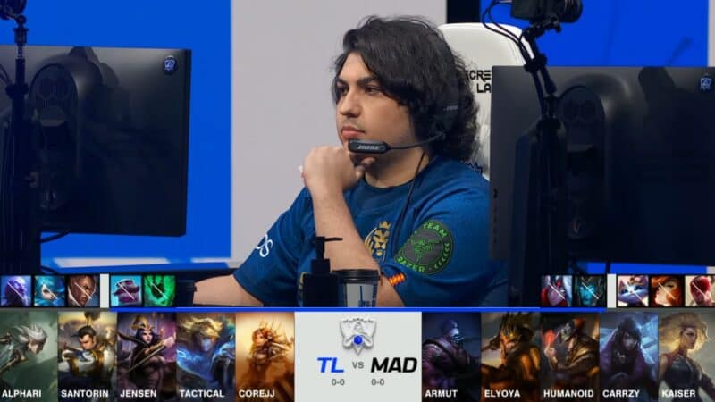 A screenshot from the 2021 World Championship Main Event Group Stage broadcast, showing the champion drafts between Team Liquid and MAD Lions with a shot of MAD Armut above.
