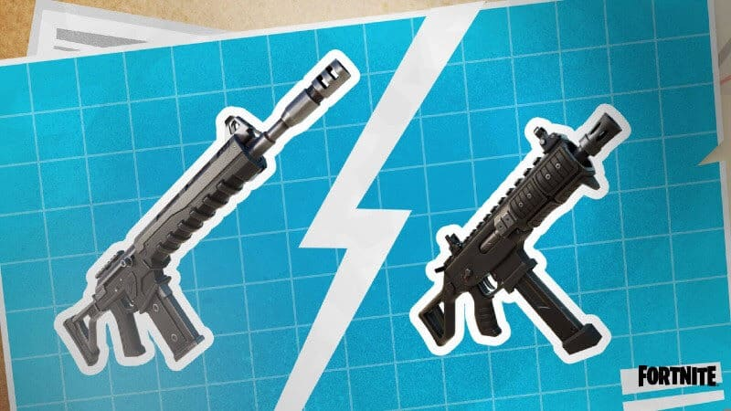 The new Combat Assault Rifle and Submachine Gun appear against a blueprint background