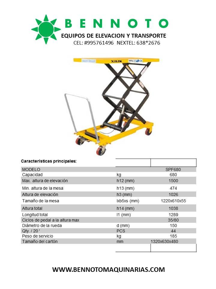 MESAS HIDRAULICAS DE TIJERA BENNOTO 680 KG  VENTA DE
