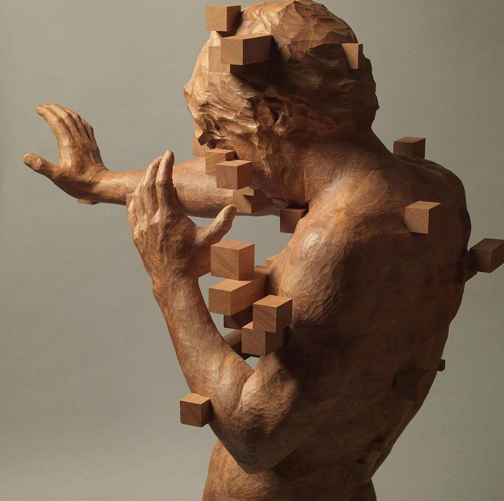 Hsu Tung Han y sus esculturas pixeladas de madera