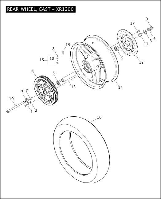 2008 Sportster Models Parts Catalog|REAR WHEEL, CAST