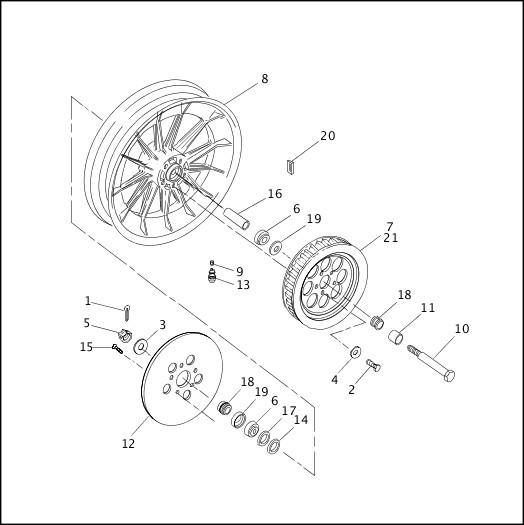 1993-1994 XLH Sportster Models Parts Catalog|REAR WHEEL
