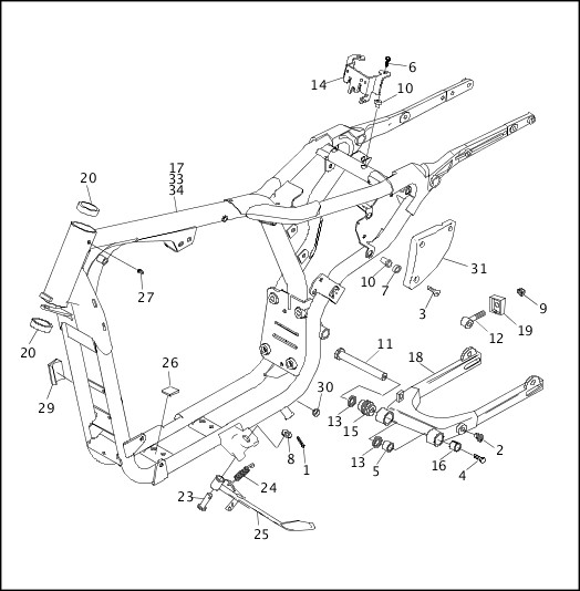 1993-1994 XLH Sportster Models Parts Catalog|FRAME, REAR