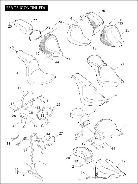 2006 Softail Models Parts Catalog SEATS (CONTINUED