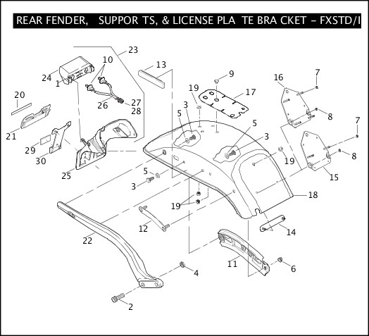 2006 Softail Models Parts Catalog REAR FENDER, SUPPORTS