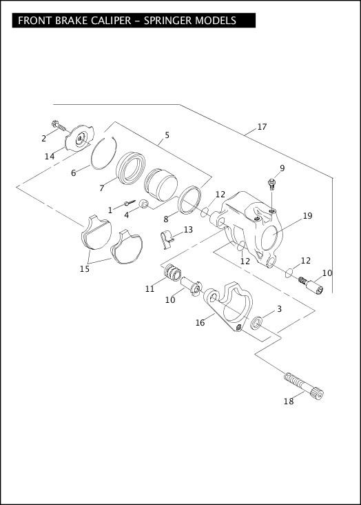2004 Softail Models Parts Catalog|FRONT BRAKE CALIPER