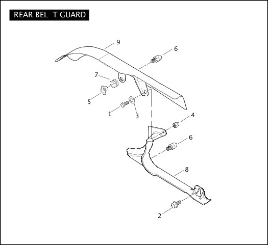 2006 Softail Models Parts Catalog REAR BELT GUARD Chester
